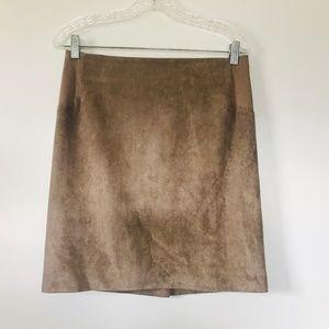 BCBGMaxazria Jaylyn Mocha Suede Skirt High Rise Sm